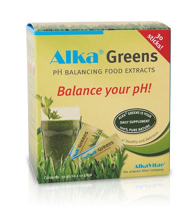 Хранителната добавка Alka® Greens съдържа голямо разнообразие от зеленчуци, плодове, кълнове, екстракти от билки и цветен прашец, както и фибри, ензими, витамини В комплекс от кълнове на киноа и пробиотични култури (lactobacillus), устойчиви на стомашната киселина.