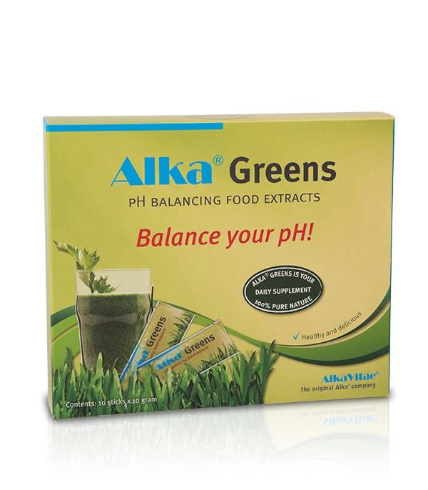 Хранителната добавка Alka® Greens съдържа голямо разнообразие от зеленчуци, плодове, кълнове, екстракти от билки и цветен прашец, както и фибри, ензими, витамини В комплекс от кълнове на киноа и пробиотични култури (lactobacillus), устойчиви на стомашната киселина